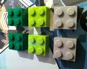 6 Retro made using LEGO ® Fridge Magnets Green Lime Grey