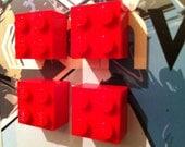 4 Retro made using LEGO ® Fridge Magnets Red