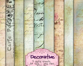 DECORATIVE 9 large handwriting patterned paper - Digital collage sheets - background for scrapbook - instant download - pp184