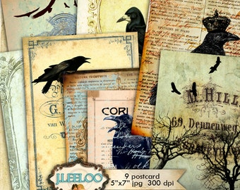 RAVEN POSTCARD 9 background 5x7 inch - Digital collage sheet - gothic dark steampunk diary scrapbook - instant download printable - pp293