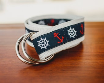 Nautical Adjustable Sailing Belt with Anchor and Compass - Navy, Red and White - For Women