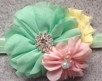 Mint and pink baby headband, mint pink yellow easter headband, photo prop, easter newborn headband