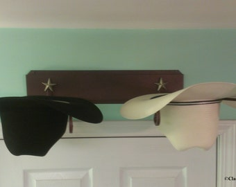 American Made Cowboy Hat Rack Powder Coated Rust with Gold Stars
