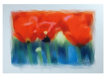 red tulips digital painting,inkjet print,tulip painting,inkjet paper,red,A4 size,gift,red green,digital tulips print,red tulips,tulips print