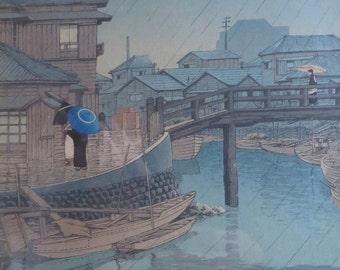 Kawase Hasui Woodblock Rain at Shinagawa