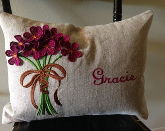 Absolutely adorable personalized girl's pillow with three dimensional bouquet