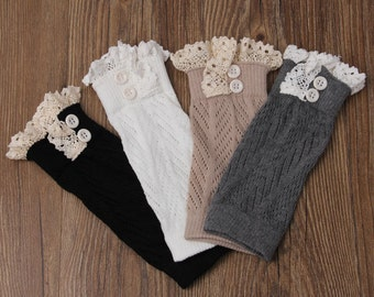 Knitted Boot Cuffs - Stretchy - Lace -Grey - Faux Leg Warmers - Boot Toppers