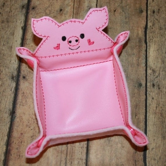 Items similar to vinyl piggie snap trays embroidery