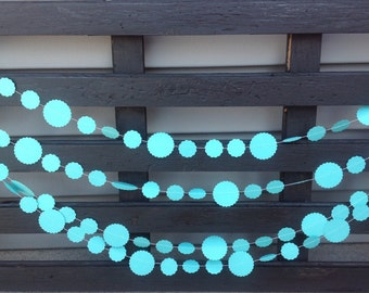 Blue circle Garland/ Scalloped circle garland,