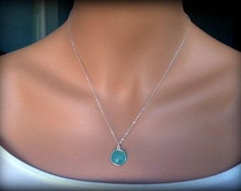 Sale! Sterling Silver Aqua Chalcedony Gemstone Necklace-Sterling Silver Necklace-Gemstone Necklace-Silver Gemstone Pendant-Dainty Necklace