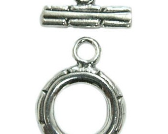 10mm Sterling Silver Toggle Clasp st26 - 2 pcs.
