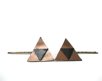 Triforce  Hair Pin Zelda  Hair Pin   Leather Bobby Pin, Gamer Hair Pins Zelda Bobby Pins Gamer Gifts For Her