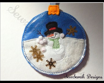 In The Hoop Snowman Snowglobe Ornament - 5 x 7