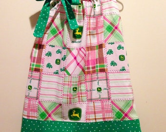 John Deere Pillowcase Dress in Pink and Green Plaid Sizes 2T-5T