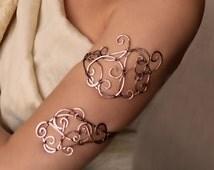"""Upper arm wrap """"Openwork"""", upper arm cuff, Jewelry, arm cuff, arm bracelet, silver arm cuff, silver bracelet"""