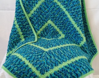 Crocheted Lime Green and Blue Variegated Square Baby Blanket