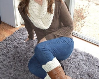 crochet womens infinity scarf and boot cuffs
