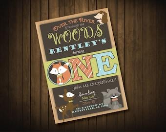 Woodland Creatures Birthday Party Invitations