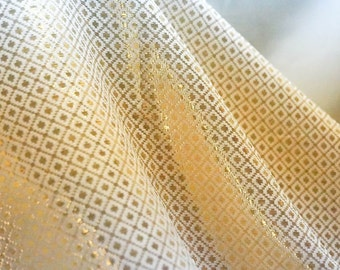 Brocade Fabric white and gold metallic, square design for wedding dress, valance and  decoration, by the yard.