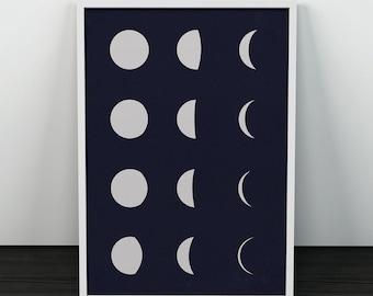 Moon phases print, Moon art, Minimalist moon phases, Constellation art, Modern moon print, Home decor art, Office decoration, Moon artwork
