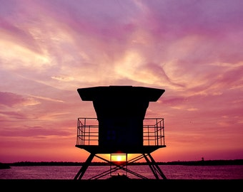 "Sunset Lifeguard Tower, Ventura CA Photography, California Print, Beach Art Print, Surf Photography -- ""Cotton Candy Skies"""