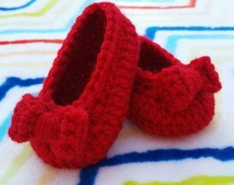 baby girl crochet shoes ballerina slippers handmade ruby slippers baby shower gift photo prop