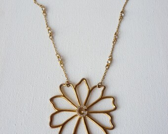 Vintage Brass Flower and Rhinestone Pendant Necklace, Antique Gold Necklace, Daisy Necklace, Initial G, 70's,Brass Retro Necklace,G Necklace