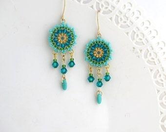 Turquoise earring, Summer earrings, Turquoise gold earring, Beaded dangle earring, Turquoise chandelier earrings, Gift for wife