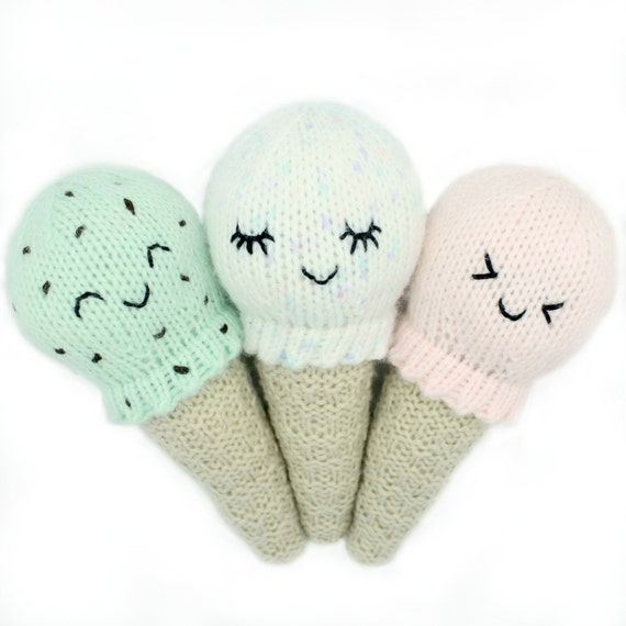 Knitting Pattern Kawaii Ice Cream Cone Baby by HelloDollyKnitting
