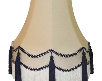 Cream Fabric Lampshade With Blue Decoration For A Wall Light, Table Lamp or Ceiling Light