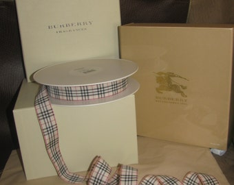 "NEW! Authentic Burberry Nova Check Fabric Ribbon, Sold by the foot, Customizable 1"" wide x ?"