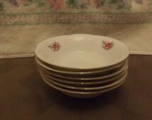 "Set of 6 - 4 3/4"" Rose Pattern Fruit Bowls - Marked"
