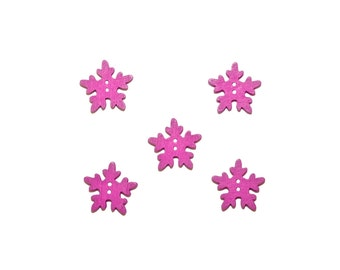 snowflakes , wooden buttons , purple , kids buttons