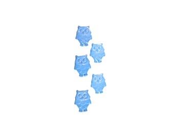 kids buttons , plastic buttons , blue , owls , blue owls