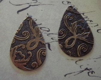 Antiqued  brass embossed teardrop pendants 2 pc
