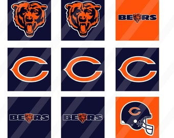 Chicago Bears digital collage sheet 4x6 1 inch square INSTANT DOWNLOAD