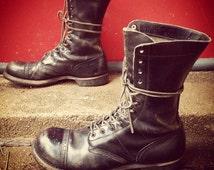 Mens Vintage Corcoran Black Leather Military Combat Cap Toe Lace Up Jump Boots USA Sz 10