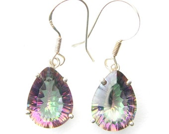 Absolutely Stunning Hand Made Mystic Topaz Teardrop Sterling Silver Earrings