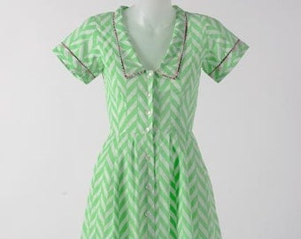 Neon green chevron - Collared dress with piping detail
