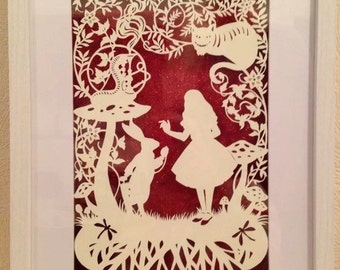 Paper cut of Alice in wonderland. Large box framed. Handmade to order.
