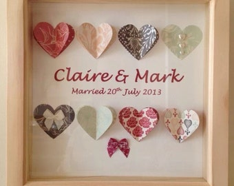 Personalised box frame 3d hearts ideal wedding, christening ect.
