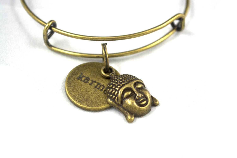 karma bangle bracelet karma circle charm and buddha charm