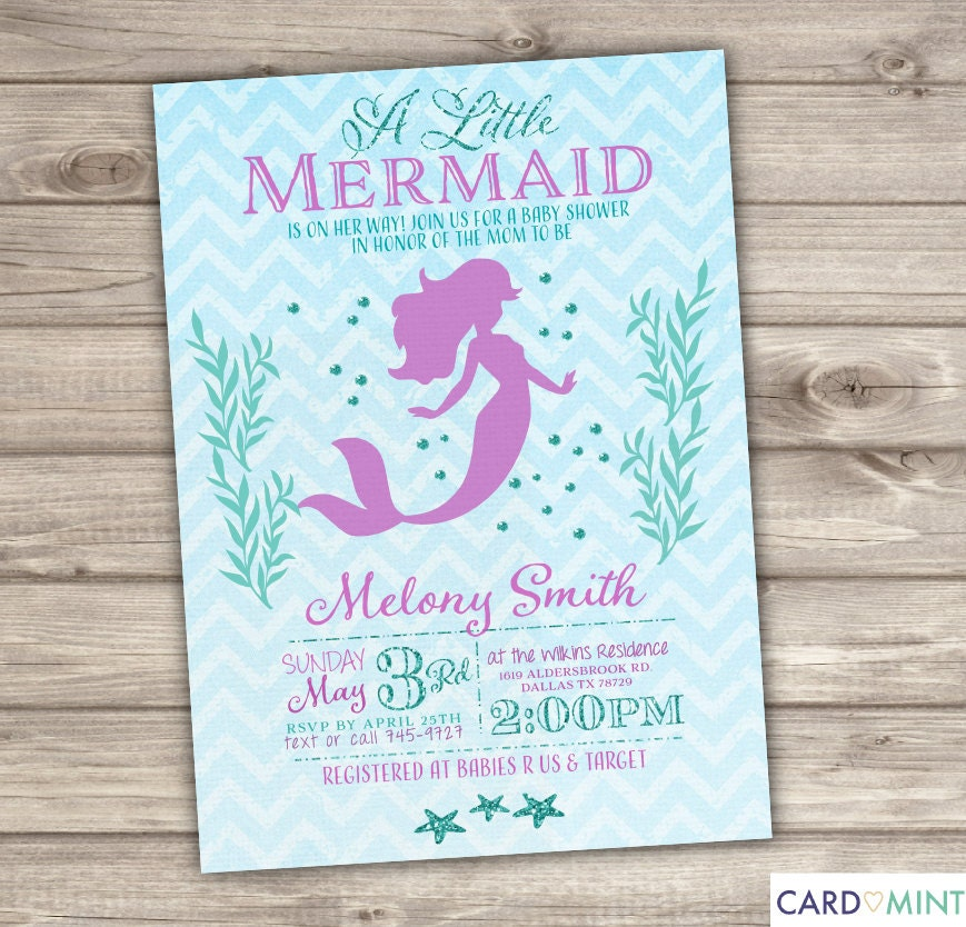 50 printed mermaid baby shower invitations chevronlittle