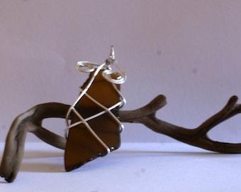 Brown Sea Glass Pendant with Silver Design