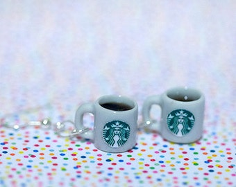 Miniature Starbucks Coffee Earring with Silver Plated or Sterling Silver your choice