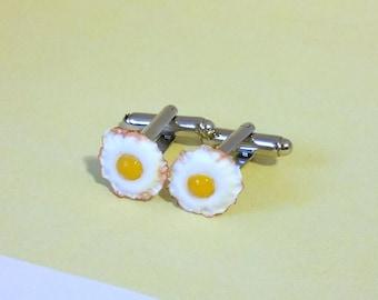 Miniature Food Fried Eggs Breakfast Cufflinks