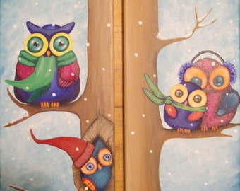 Colourful, whimsical, playful, winter, owls in a tree on a stretched 7x14 canvas acrylic. Original painting