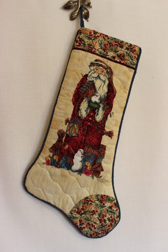 Handcrafted Unique Christmas Stocking Woodland Santa