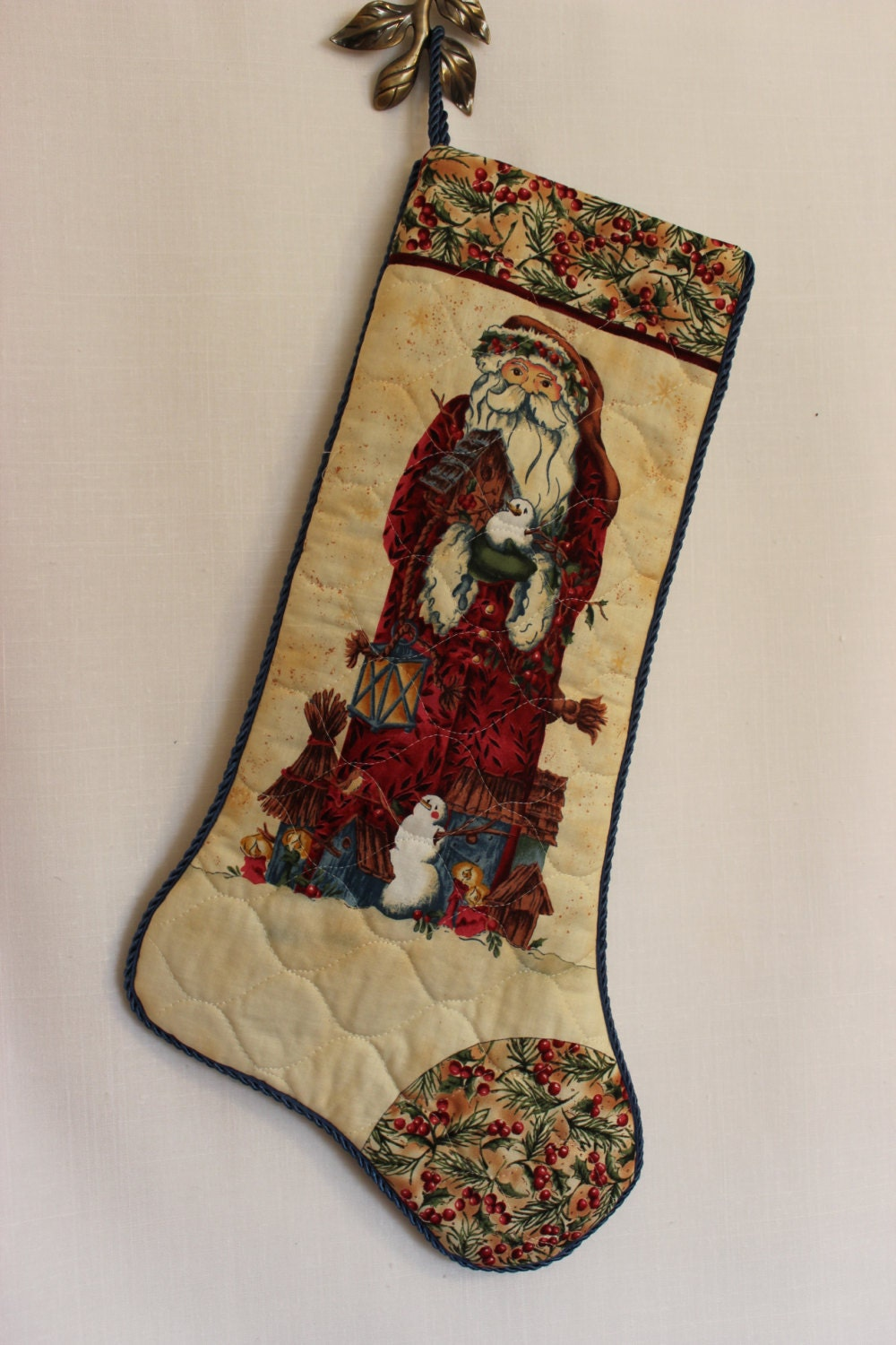 Handcrafted Unique Christmas Stocking Woodland Santa