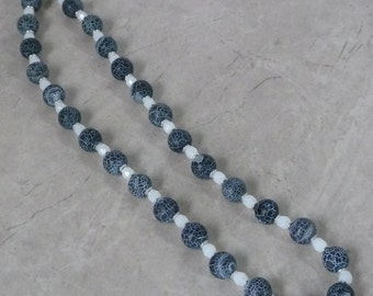 Black Frosted Agate Necklace I - Beadwork - Handmade